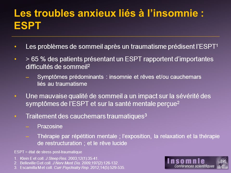 Les troubles anxieux liés à l'insomnie : ESPT