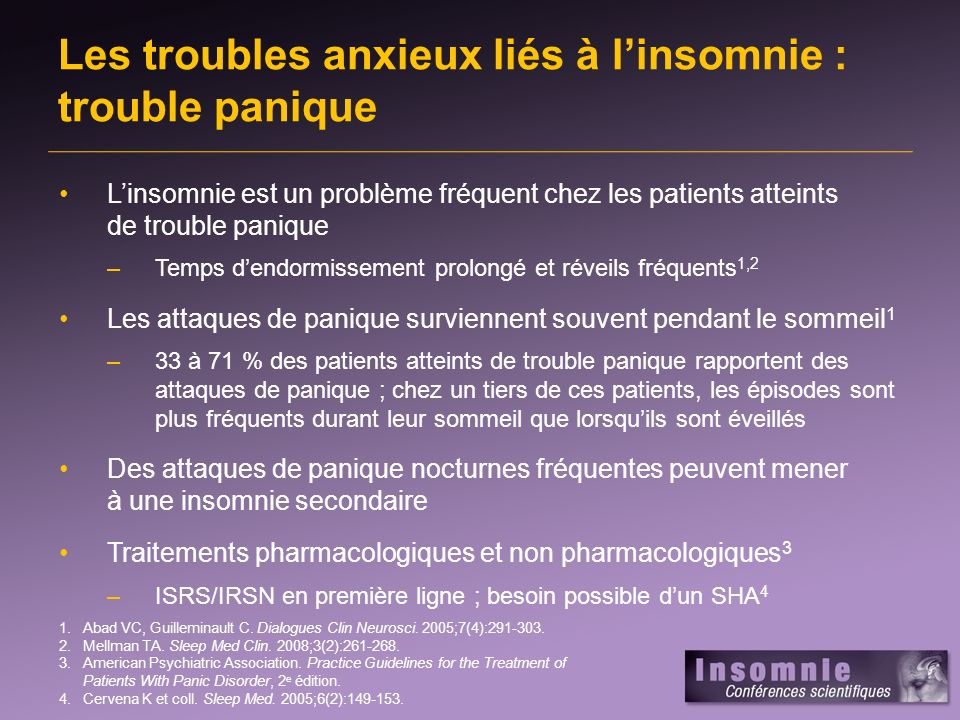 Les troubles anxieux liés à l'insomnie : trouble panique