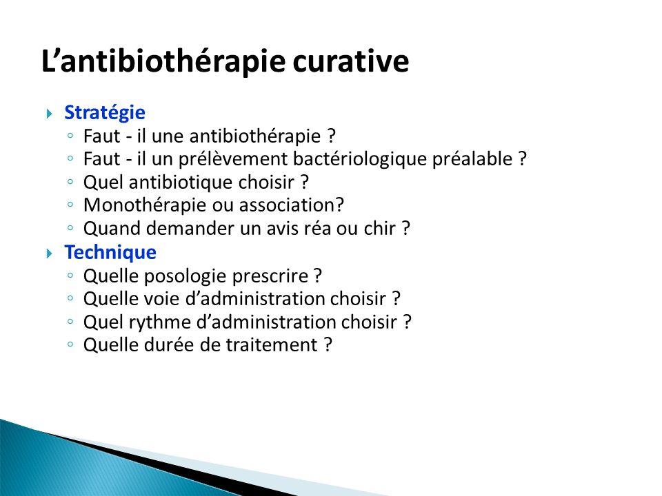 L'antibiothérapie curative
