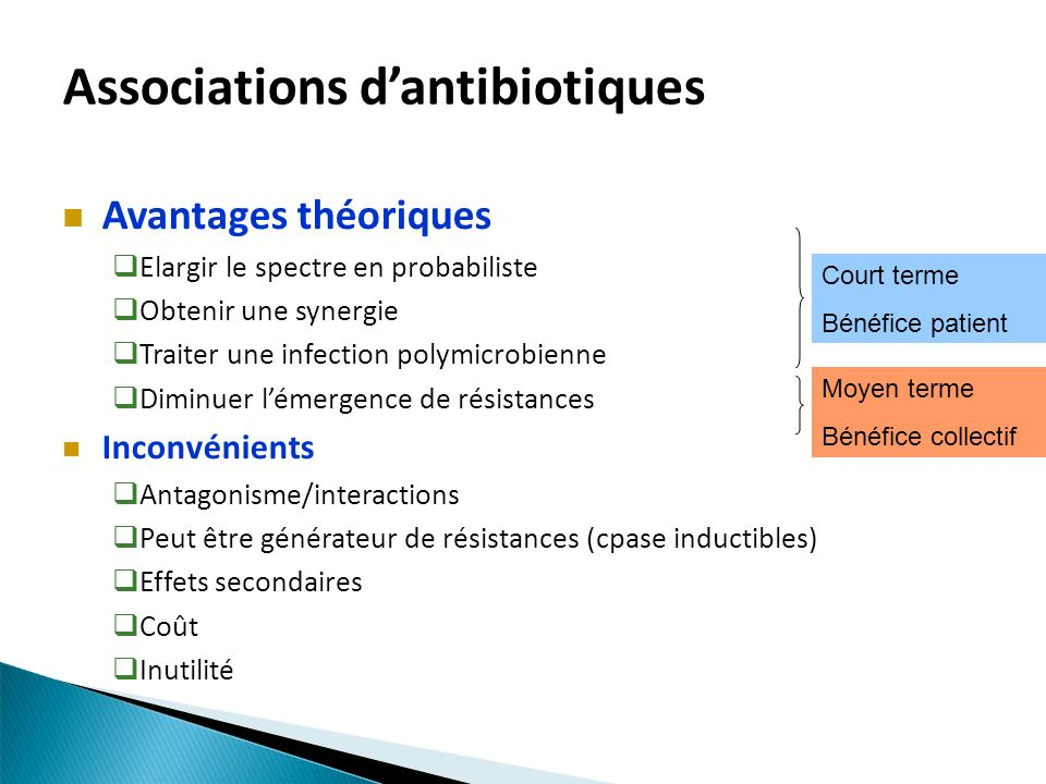 Associations d'antibiotiques