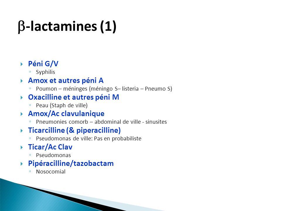 -lactamines (1) Péni G/V Amox et autres péni A