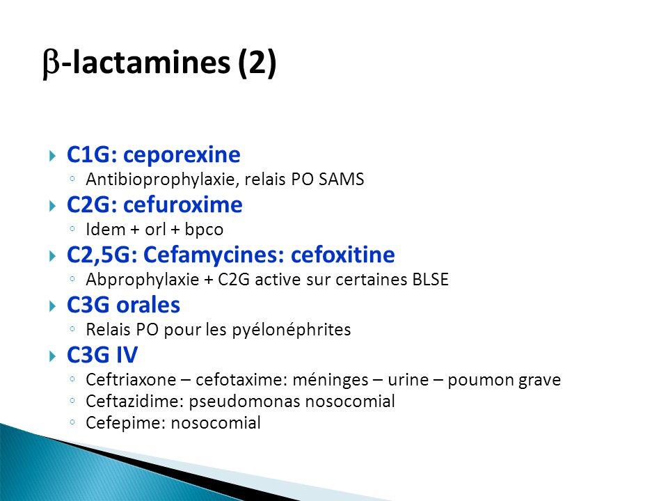 -lactamines (2) C1G: ceporexine C2G: cefuroxime