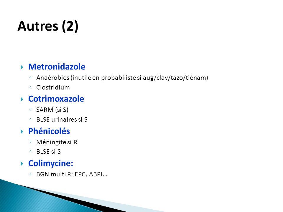 Autres (2) Metronidazole Cotrimoxazole Phénicolés Colimycine: