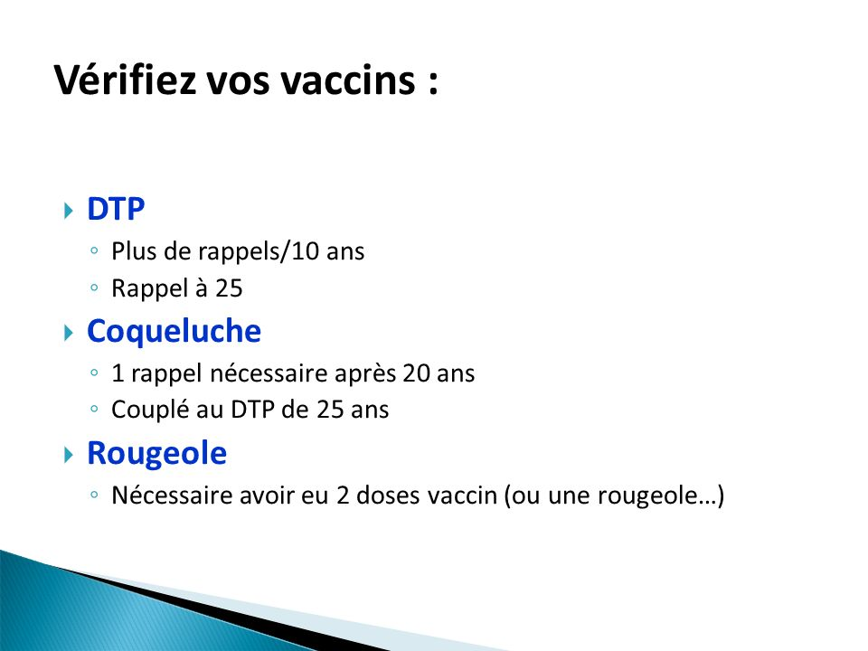 Vérifiez vos vaccins : DTP Coqueluche Rougeole Plus de rappels/10 ans