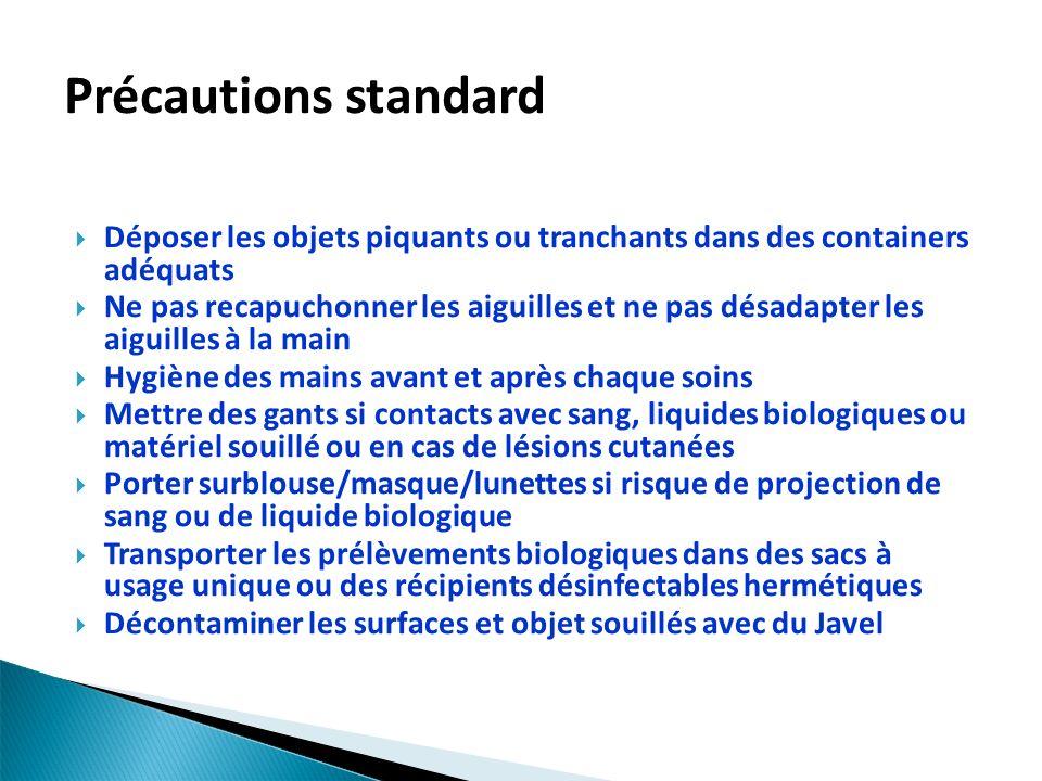 Précautions standard Déposer les objets piquants ou tranchants dans des containers adéquats.