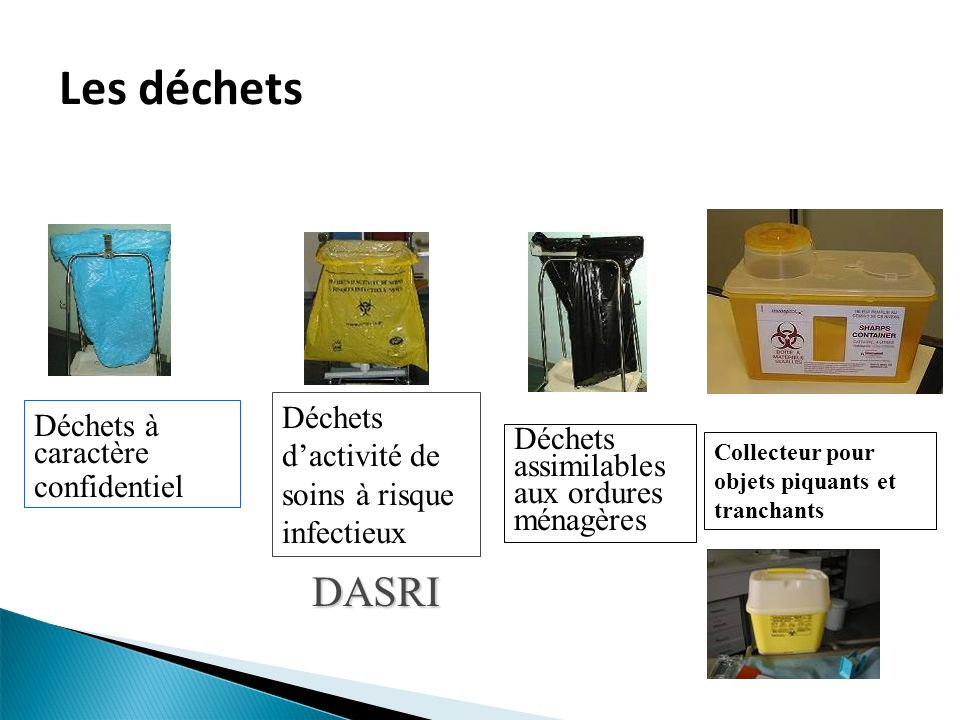 Les déchets DASRI Déchets d'activité de soins à risque infectieux