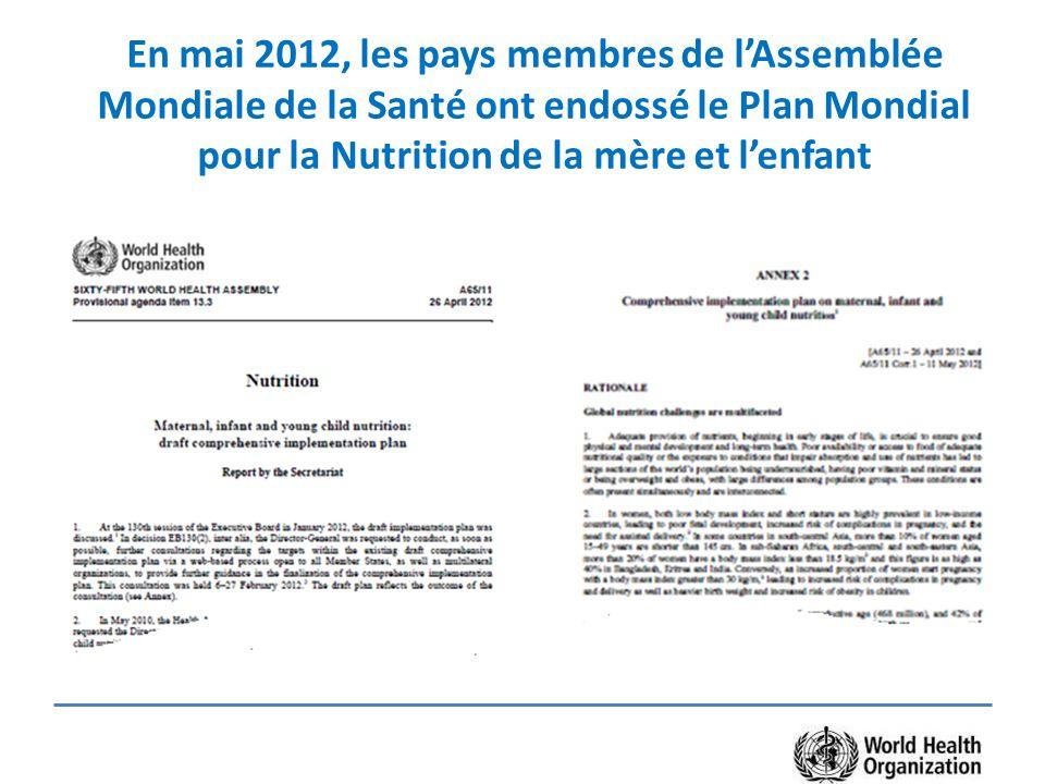 En mai 2012, les pays membres de l'Assemblée Mondiale de la Santé ont endossé le Plan Mondial pour la Nutrition de la mère et l'enfant