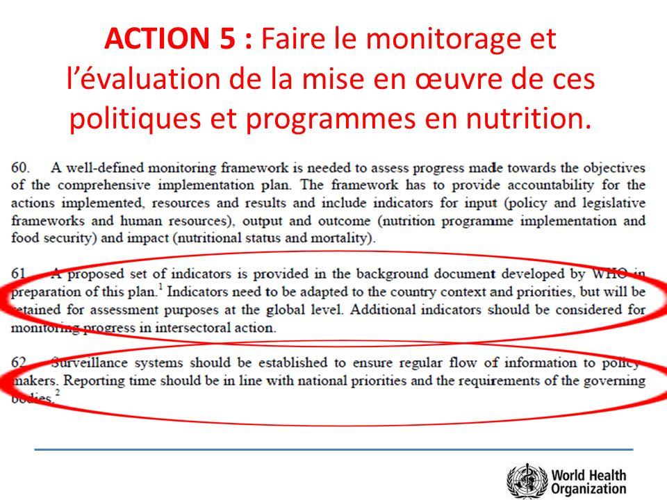 ACTION 5 : Faire le monitorage et l'évaluation de la mise en œuvre de ces politiques et programmes en nutrition.
