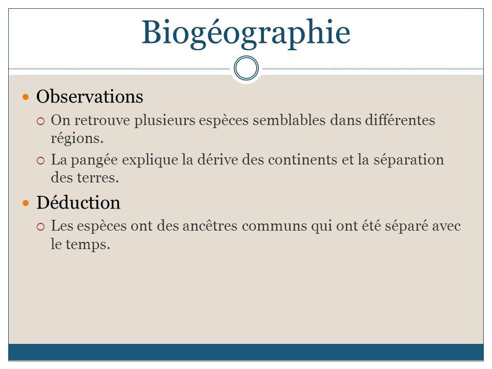 Biogéographie Observations Déduction