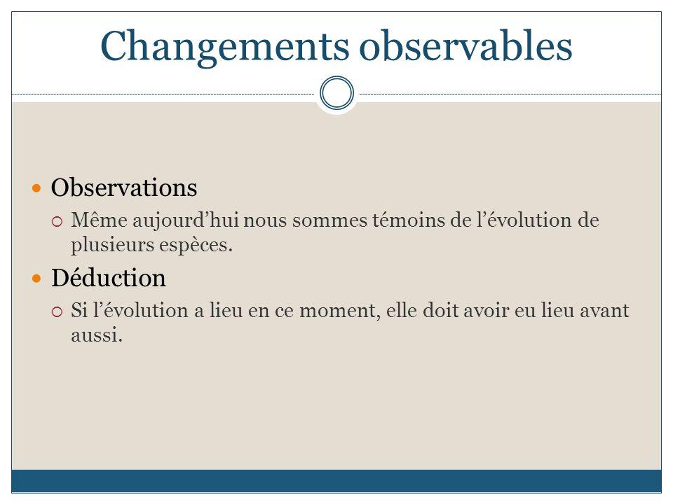 Changements observables