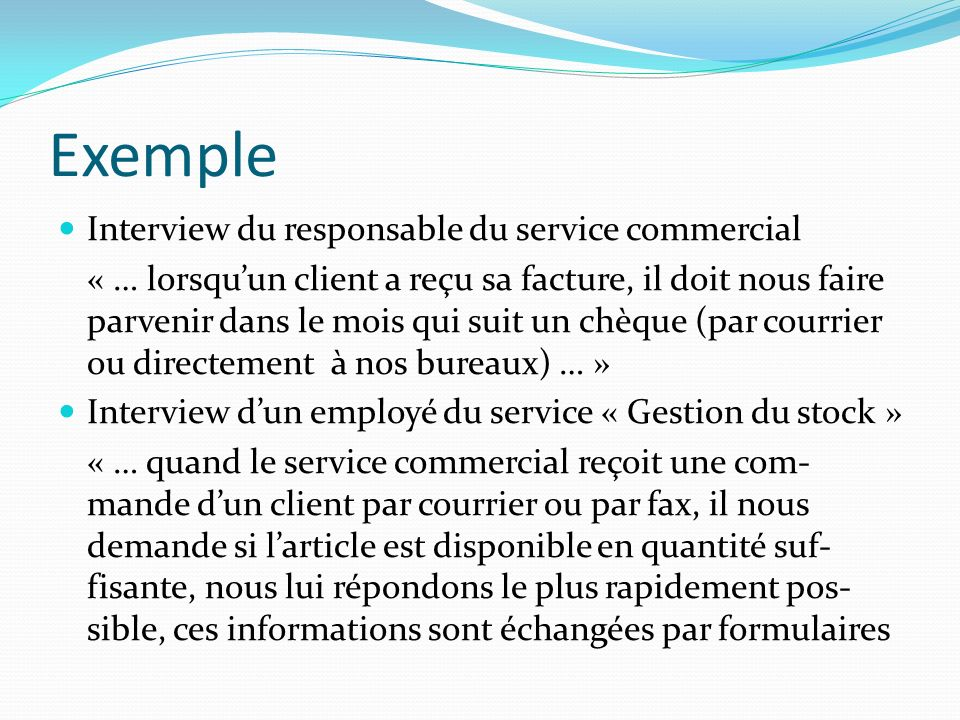 Exemple Interview du responsable du service commercial