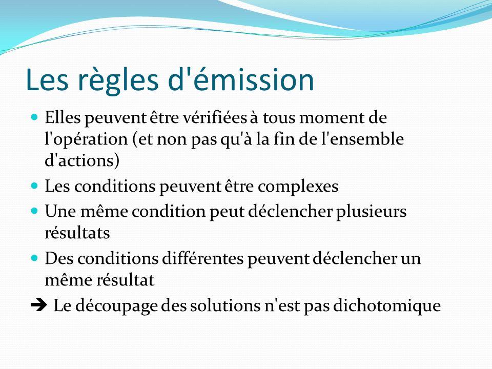 Les règles d émission Elles peuvent être vérifiées à tous moment de l opération (et non pas qu à la fin de l ensemble d actions)
