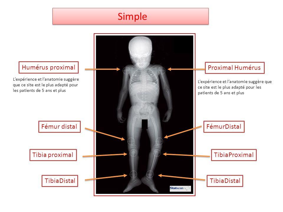 Simple Humérus proximal Proximal Humérus Fémur distal FémurDistal