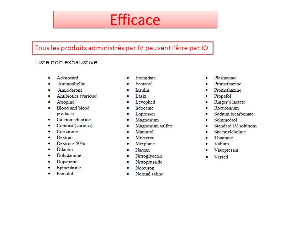 Efficace Tous les produits administrés par IV peuvent l'être par IO