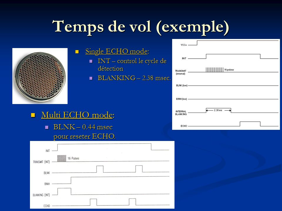 Temps de vol (exemple) Multi ECHO mode: Single ECHO mode: