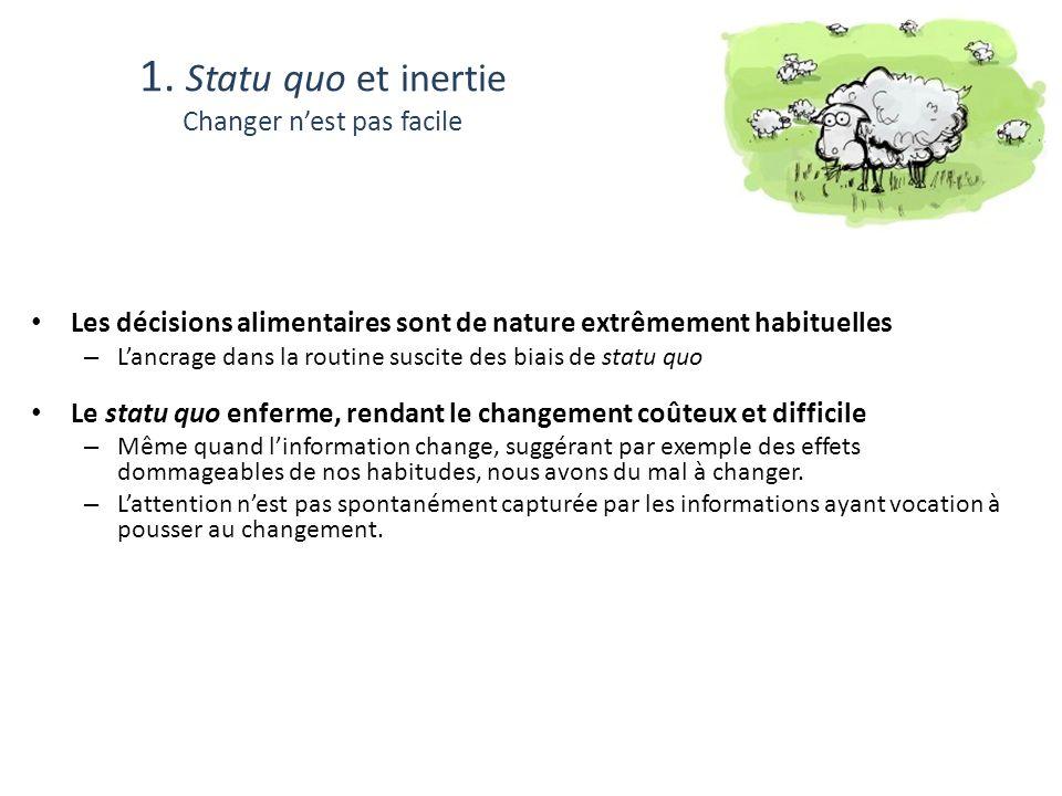 1. Statu quo et inertie Changer n'est pas facile