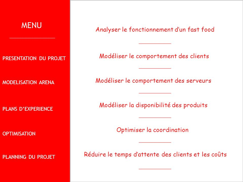 MENU Analyser le fonctionnement d'un fast food