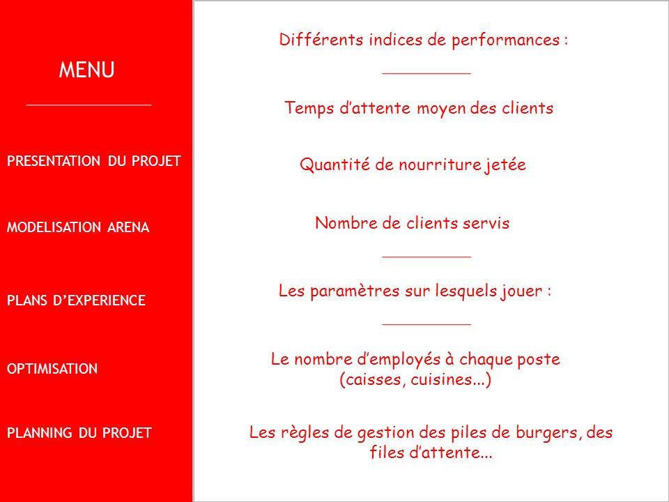 MENU Différents indices de performances :