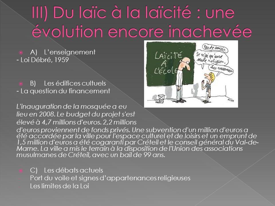 III) Du laïc à la laïcité : une évolution encore inachevée