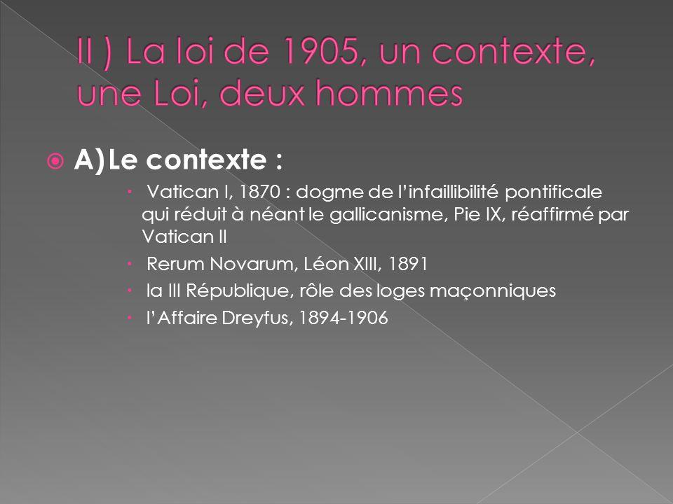 II ) La loi de 1905, un contexte, une Loi, deux hommes