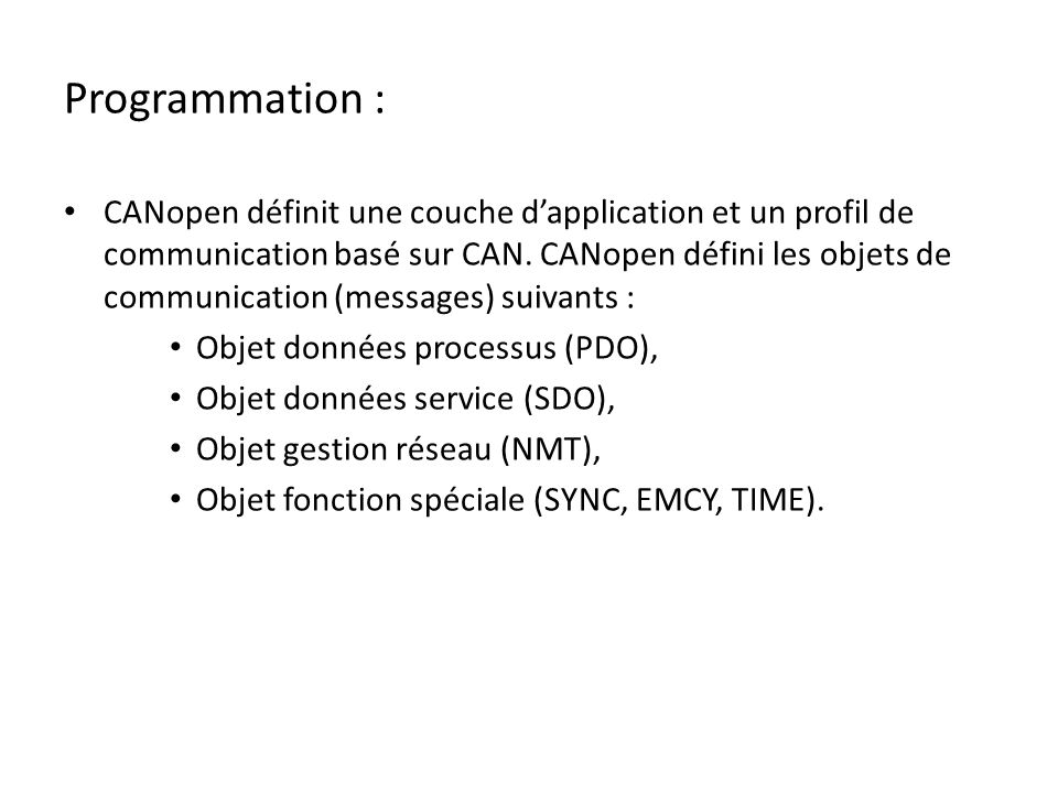 Programmation :
