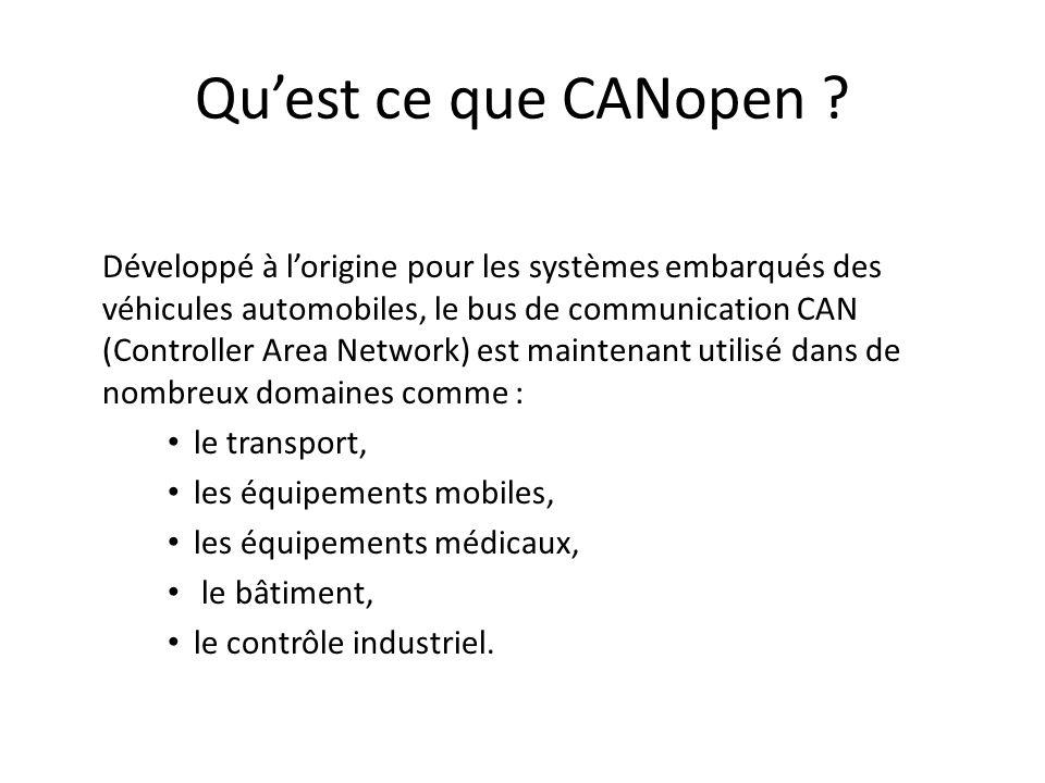 Qu'est ce que CANopen le transport, les équipements mobiles,