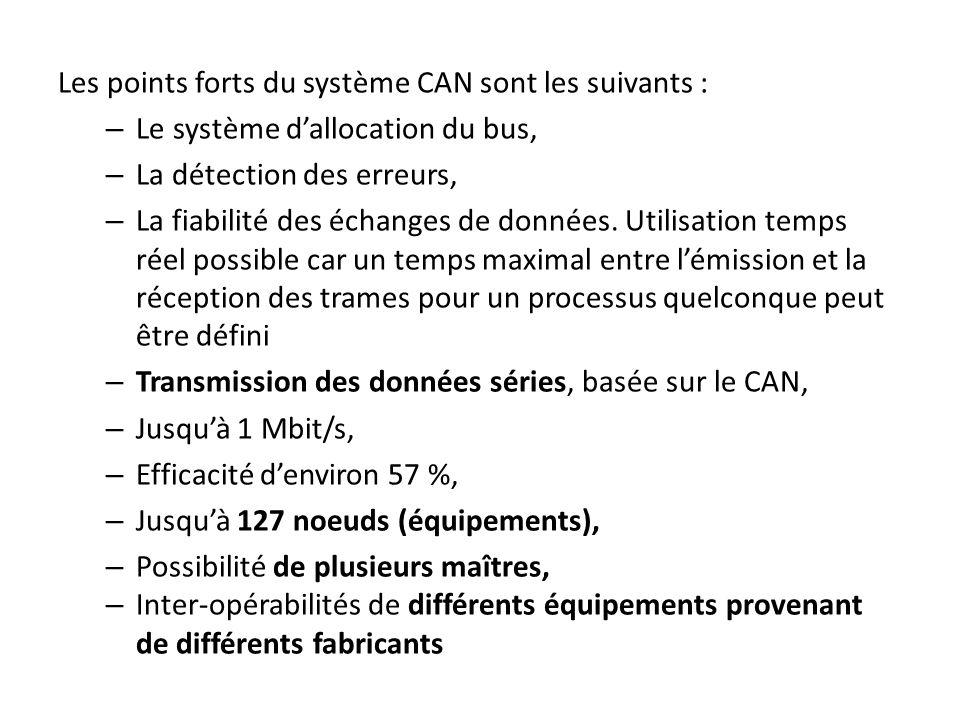 Les points forts du système CAN sont les suivants :