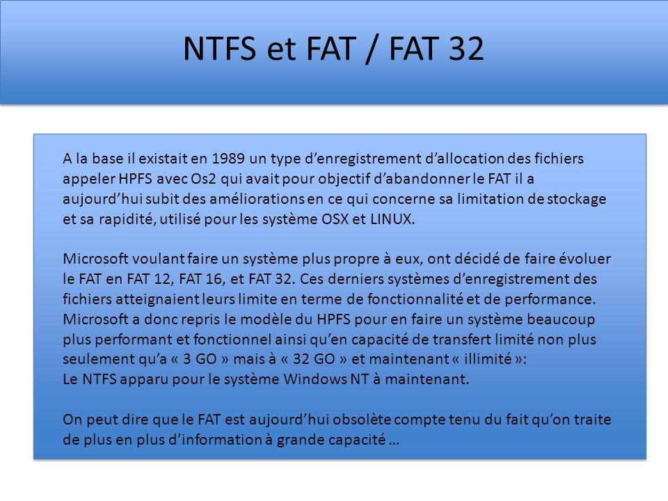 NTFS et FAT / FAT 32