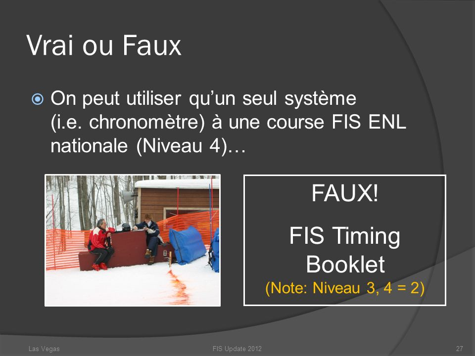 FIS Timing Booklet (Note: Niveau 3, 4 = 2)