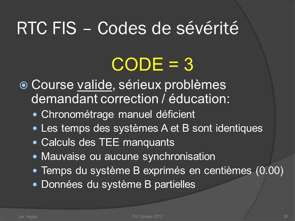 RTC FIS – Codes de sévérité