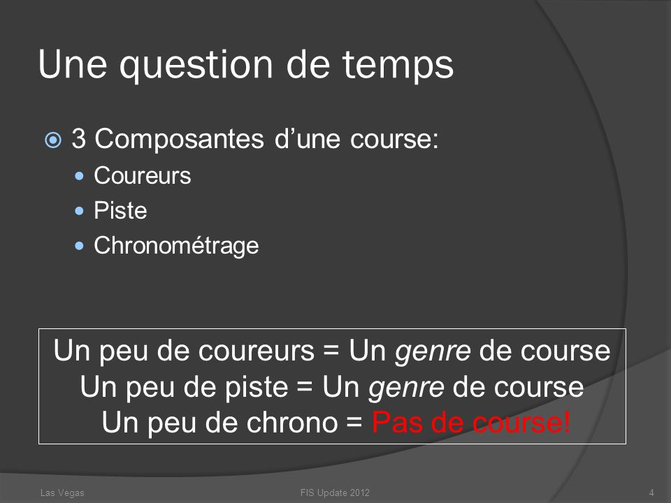 Une question de temps Un peu de coureurs = Un genre de course
