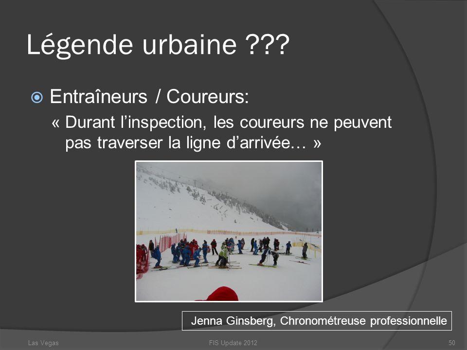 Légende urbaine Entraîneurs / Coureurs: