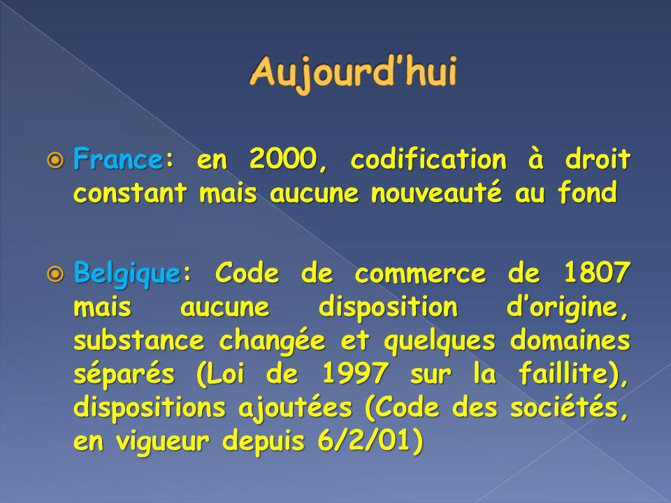 Aujourd'hui France: en 2000, codification à droit constant mais aucune nouveauté au fond.