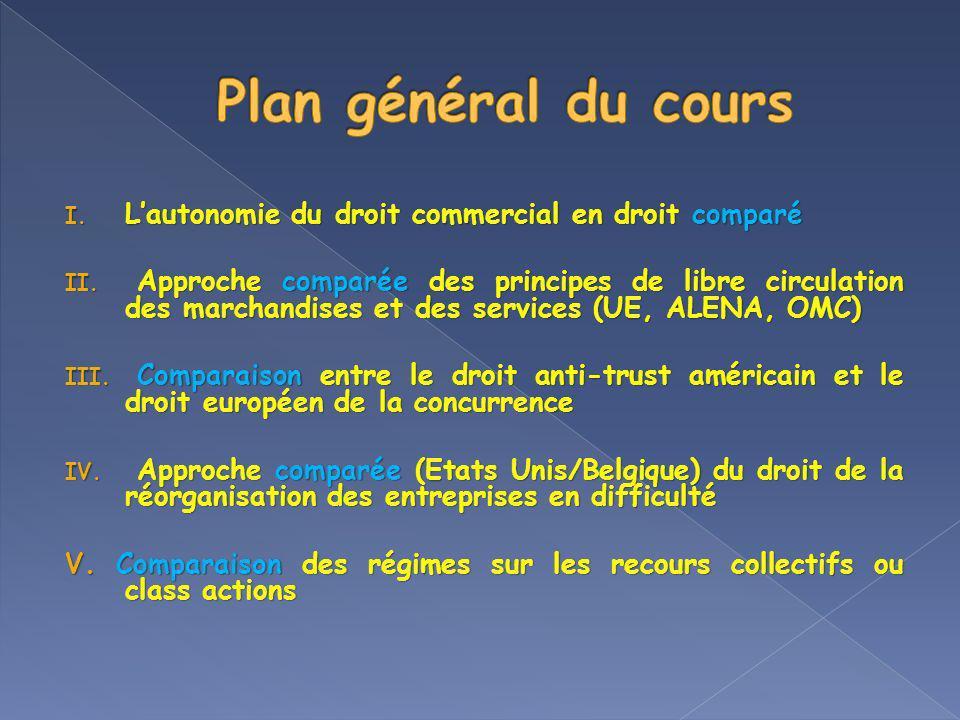 Plan général du cours L'autonomie du droit commercial en droit comparé