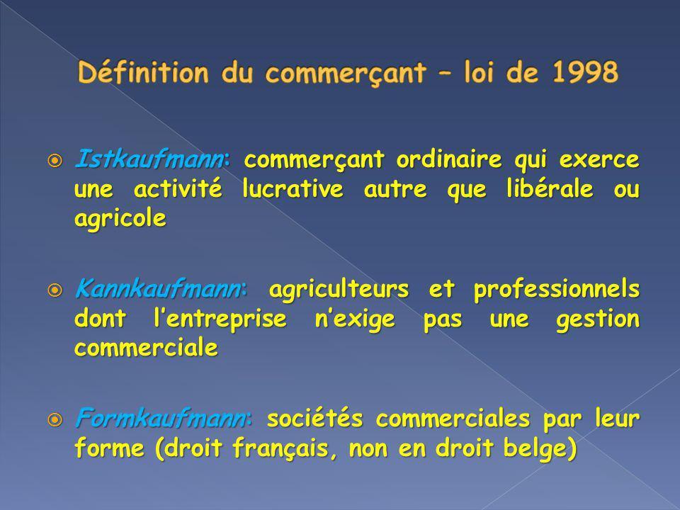 Définition du commerçant – loi de 1998