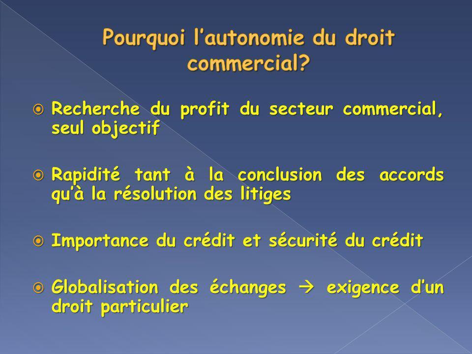 Pourquoi l'autonomie du droit commercial