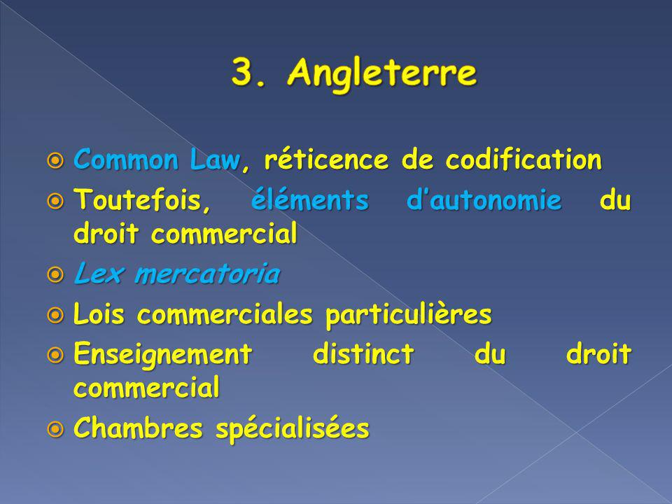 3. Angleterre Common Law, réticence de codification