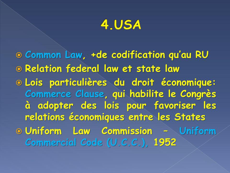 4.USA Common Law, +de codification qu'au RU