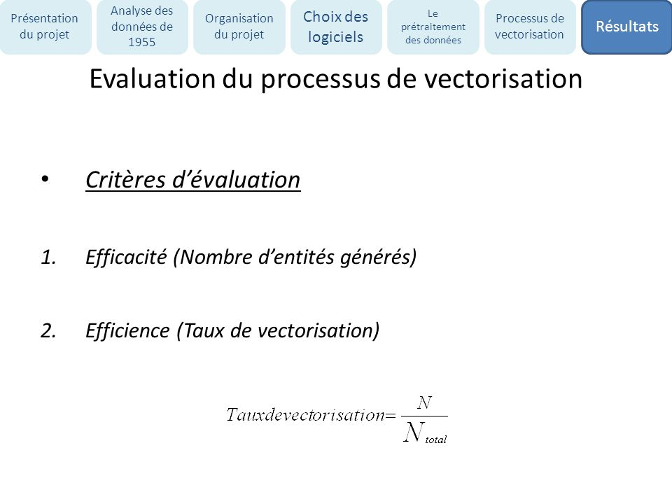 Evaluation du processus de vectorisation