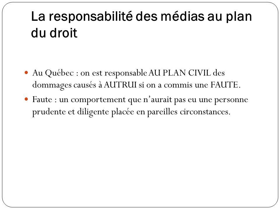 La responsabilité des médias au plan du droit