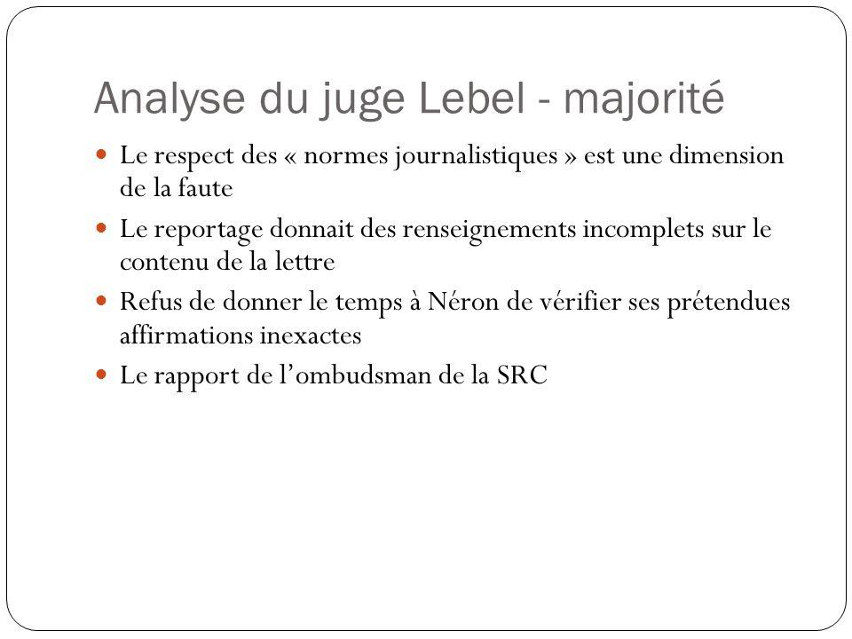 Analyse du juge Lebel - majorité