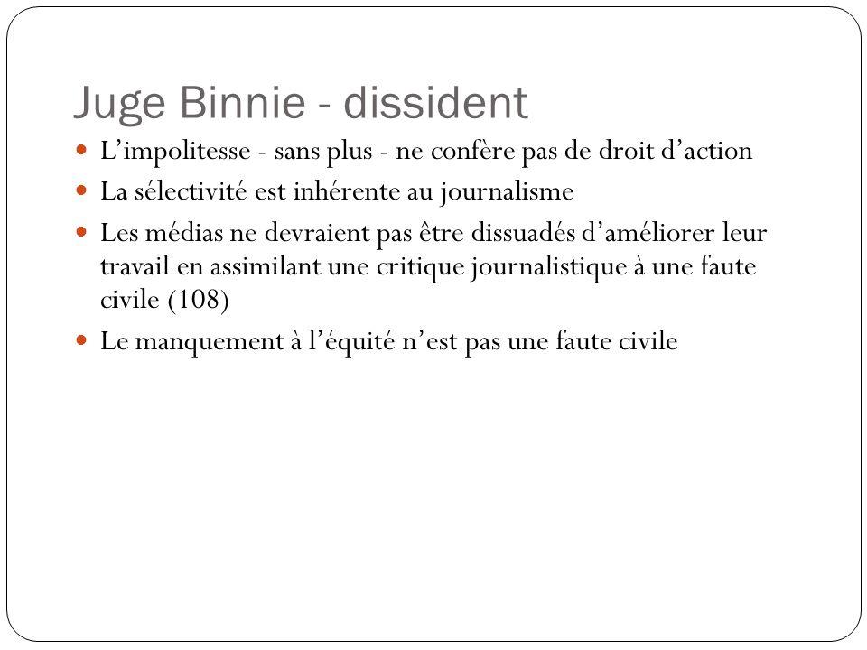 Juge Binnie - dissident