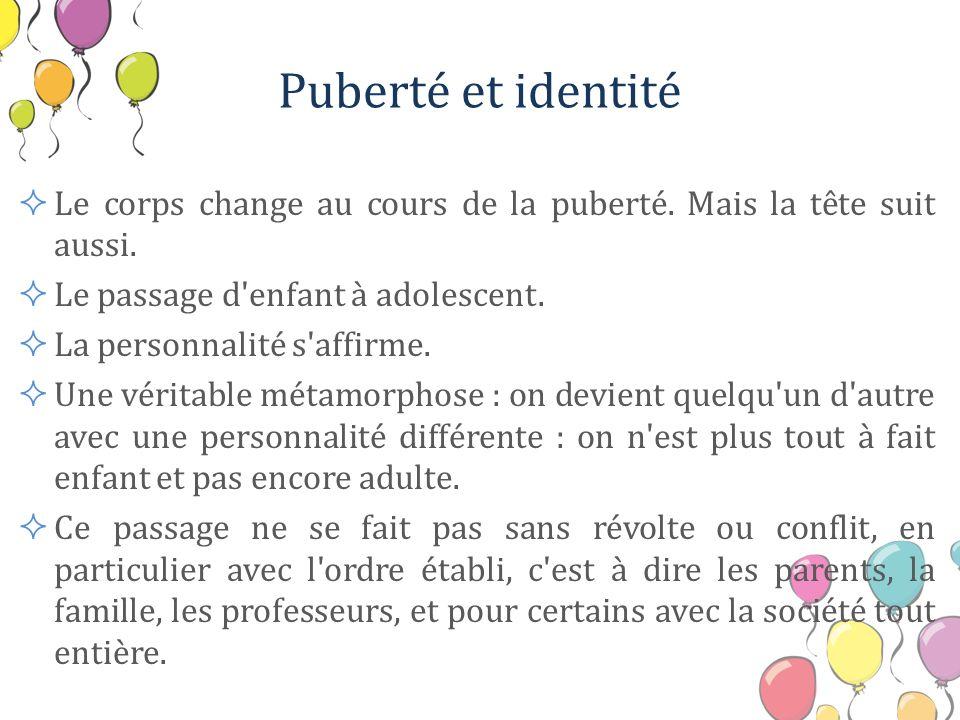 Puberté et identité Le corps change au cours de la puberté. Mais la tête suit aussi. Le passage d enfant à adolescent.