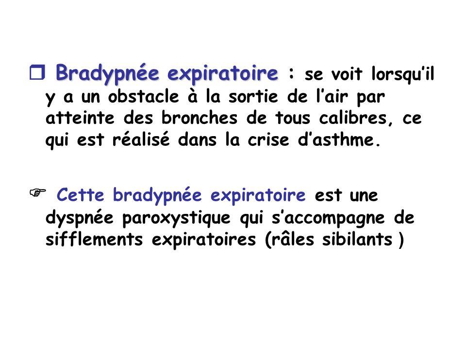  Bradypnée expiratoire : se voit lorsqu'il y a un obstacle à la sortie de l'air par atteinte des bronches de tous calibres, ce qui est réalisé dans la crise d'asthme.