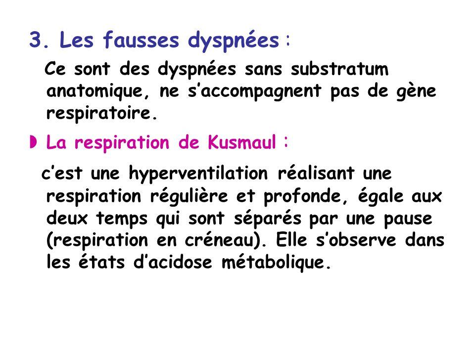 3. Les fausses dyspnées : Ce sont des dyspnées sans substratum anatomique, ne s'accompagnent pas de gène respiratoire.