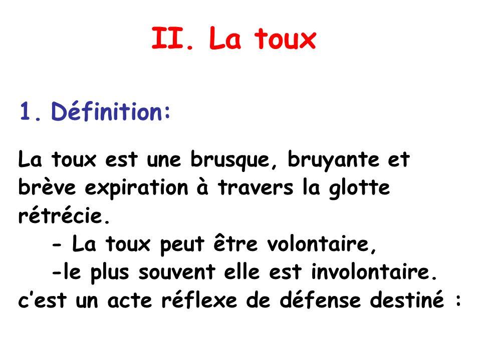 II. La toux Définition: La toux est une brusque, bruyante et