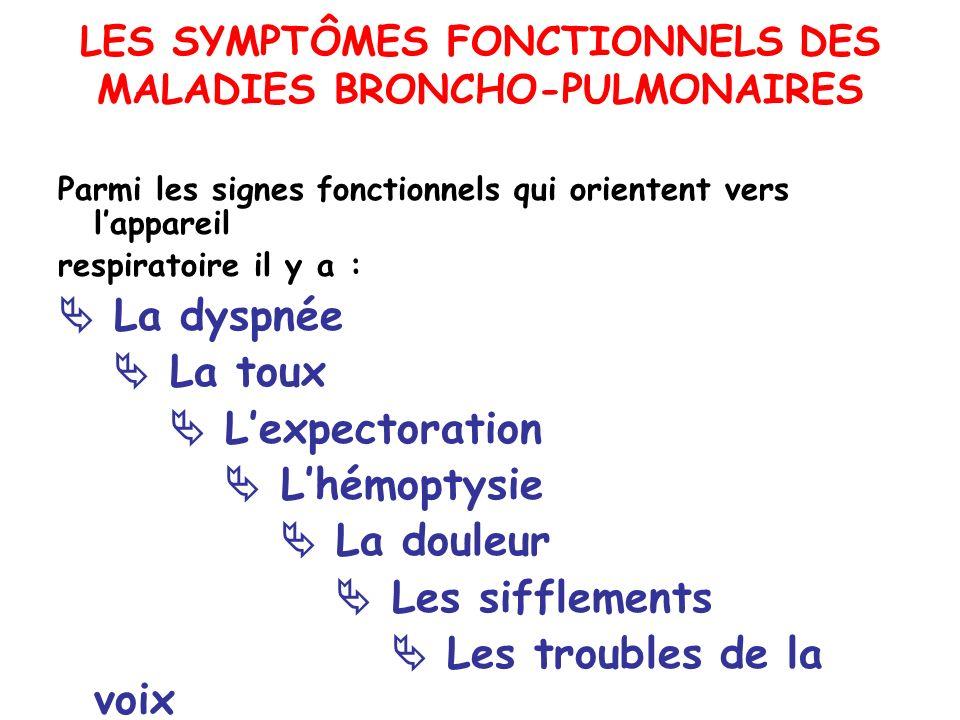 LES SYMPTÔMES FONCTIONNELS DES MALADIES BRONCHO-PULMONAIRES