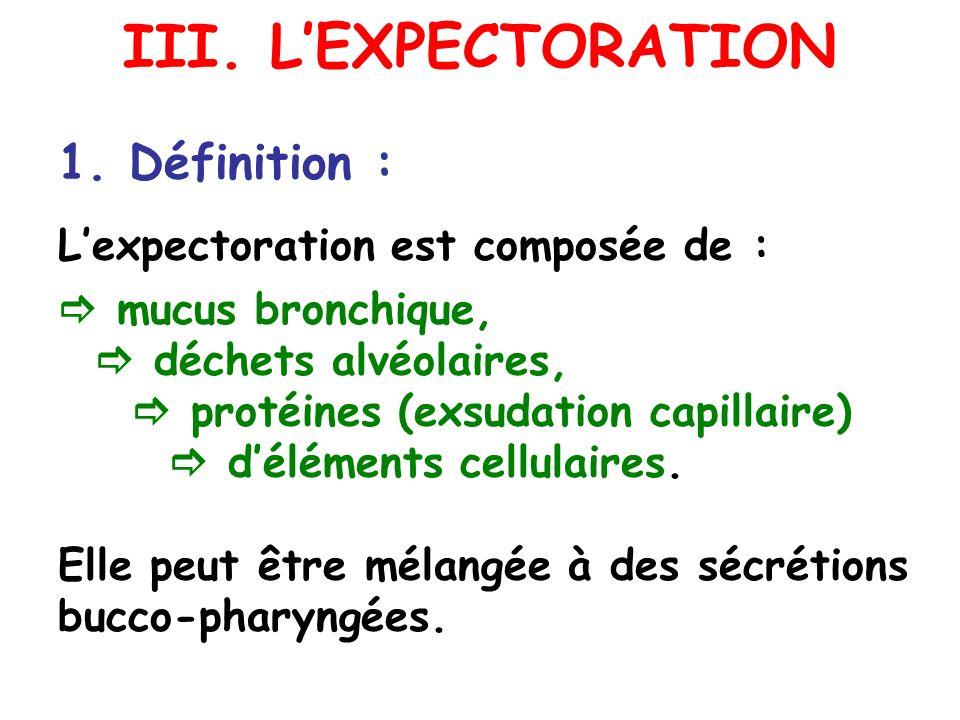 III. L'EXPECTORATION 1. Définition : L'expectoration est composée de :