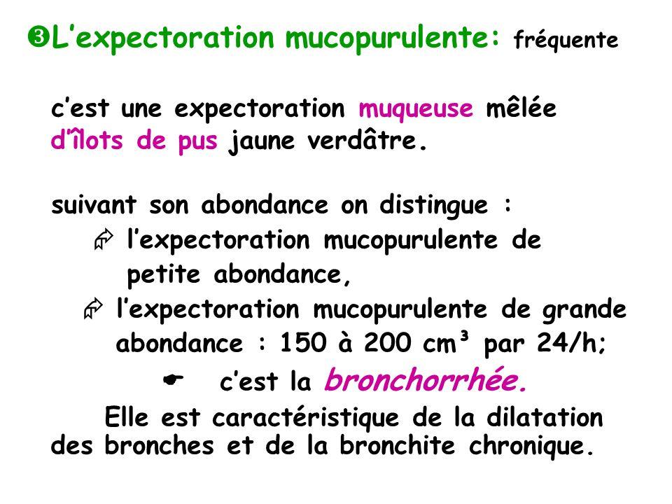 L'expectoration mucopurulente: fréquente