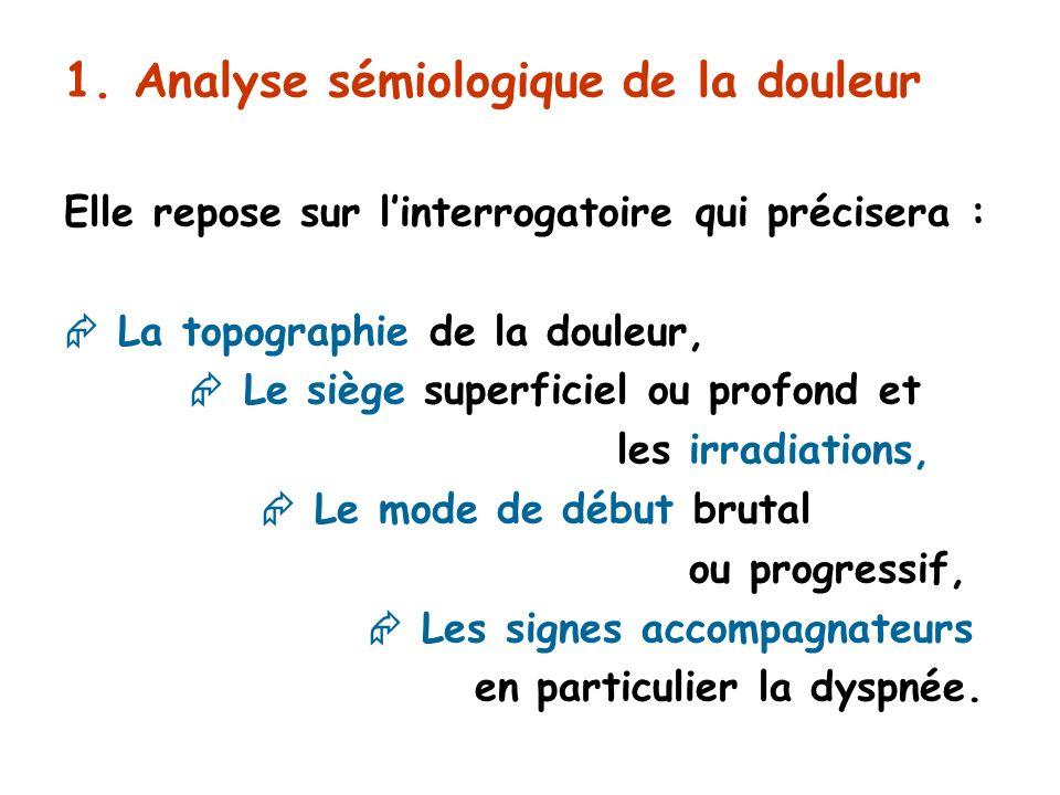 1. Analyse sémiologique de la douleur